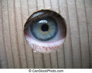 I spy - Eye looking through hole in a wooden plank