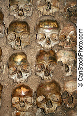 human bones - bones and skulls in the Temple of the Bones in...