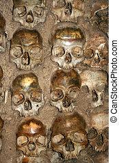 human bones - bones and skulls in the Temple of the Bones in...