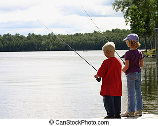 Children Fishing - Brother and Sister Fishing in a lake