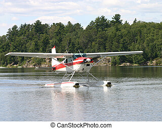 Water Plane - Water plance landing on the lake
