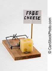 Mouse trap 1 - Mouse trap with cheese and Free Cheese sign...