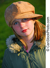 Girl portrait hat - Portrait of a young girl in a hat,...