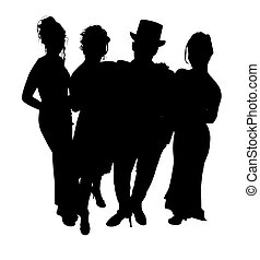 Formal Group - Silhouette over white with clipping path. Of...