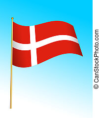 Flag - Denmark - Digital illustration. Gradients, warp.