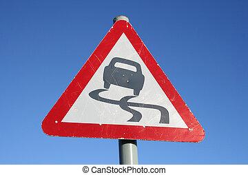 Warning slippery road sign