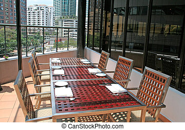 Penthouse dining - Penthouse outdoor dining, city view