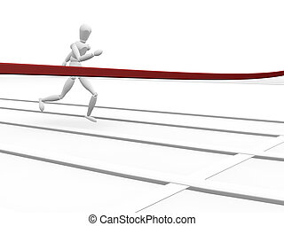 Finishing line - 3D render of someone reaching the finishing...