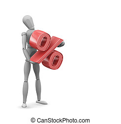 Percentage - 3D render of someone holding a percentage sign