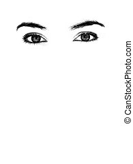 Female eyes in a white background