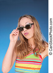 bright - girl in summerdress with dark sun glasses