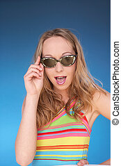 sun fun - girl in summerdress with dark sunglasses