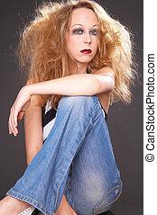 arrogant - posing girl in vamp look