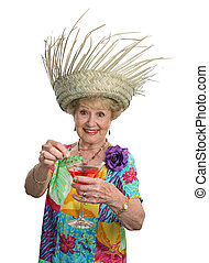 Senior Lady - Cruises & Cocktails - A beautiful senior woman...