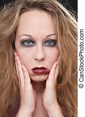 stunned - girl with red blurred lipstick