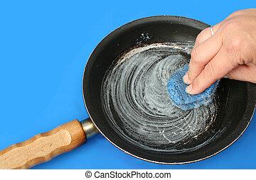 housework - scouring a frying pan