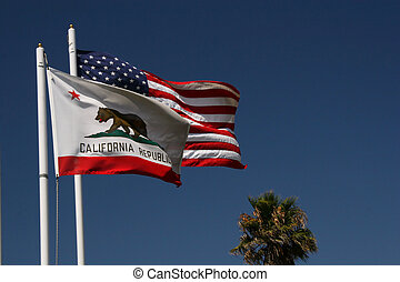 US, California flags - United States and California flags...