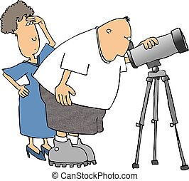 Amateur astronomer - This illustration depicts a couple with...