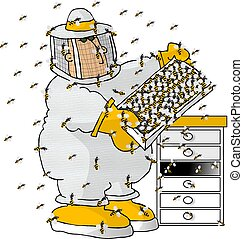 Beekeeper - This illustration depicts a beekeeper checking a...