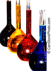Colorful chemistry liquid glass retorts isolated - Alchemy...