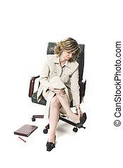 business woman leg fatigue