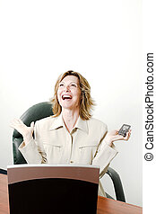 big joy for business woman - business woman laughing