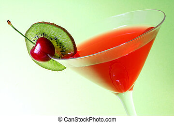 Christmas Cocktail - Red Cocktail with green background and...
