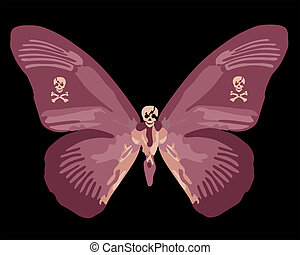 Red Skull Butterfly Illustration