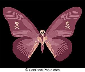 Red Skull Butterfly Illustration