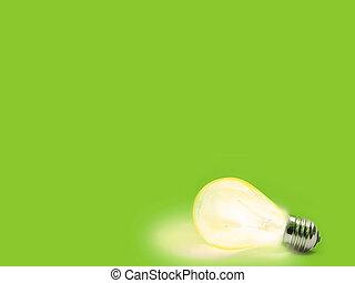 lightbulb - green Background with lit lightbulb