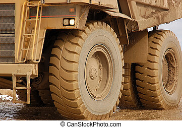 Dump truck on industrial site