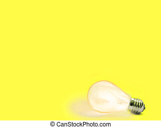 lightbulb  - yellow Background with lit lightbulb