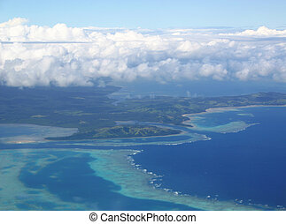 Aerial View Fiji Islands - Aerial view of the tropical...