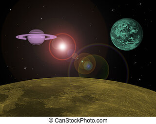 Planetary Orbit - In orbit around a moon with two planets...