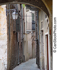Orta Lanes - Typical narrow Italian lanes on Orta island in...