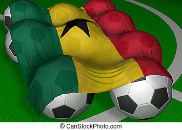 3D-rendering Ghana flag and soccer-balls - competitor of...