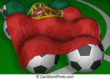 3D-rendering Portugal flag and soccer-balls - competitor of...