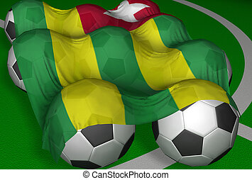 3D-rendering Togo flag and soccer-balls - competitor of...