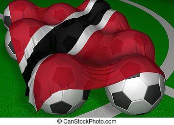 3D-rendering Trinidad and Tobago flag and soccer-balls -...