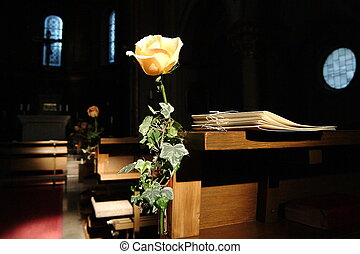 Wedding - Rose in a chapel