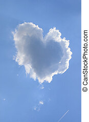 Heart Shaped Cloud - Naturally heart shaped cloud in a blue...