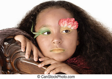 Flower Princess - Beautiful African American girl decorated...