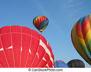 hot air balloons - a group of hot air balloons launched