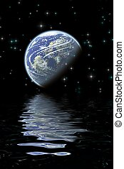Moon reflections - beautiful digital background with moon...