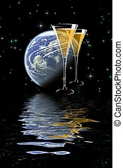 Moonlight champagne - Digital image with abstract space...