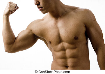 Bicep Curl - A young man flexes his bicep