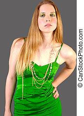 Goldgreen 4 - Fashion Model wearing a green dress and gold...