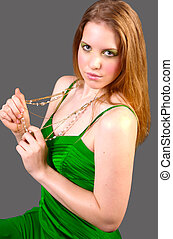 Goldgreen 1 - Stunning blonde in green dress and gold...