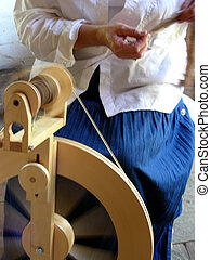 Pulling the Wool - Old time spinning of buffalo fur into...