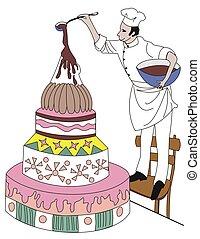 confectioner making cake